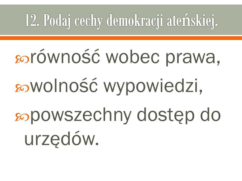 12. Podaj cechy demokracji ateńskiej.
