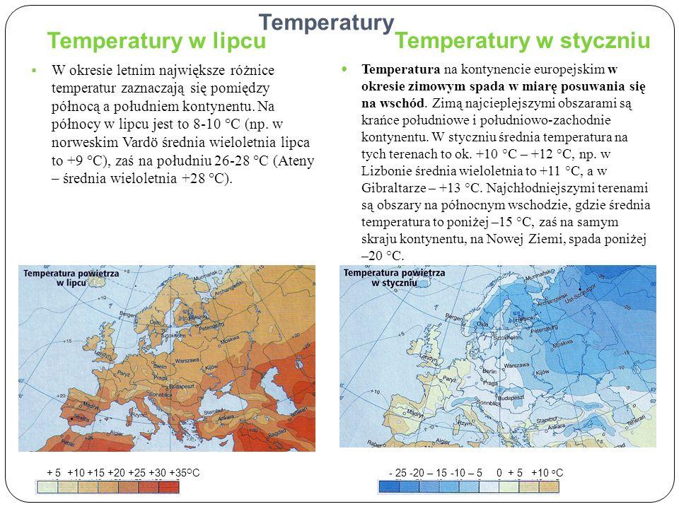 Temperatury w styczniu Temperatury w lipcu