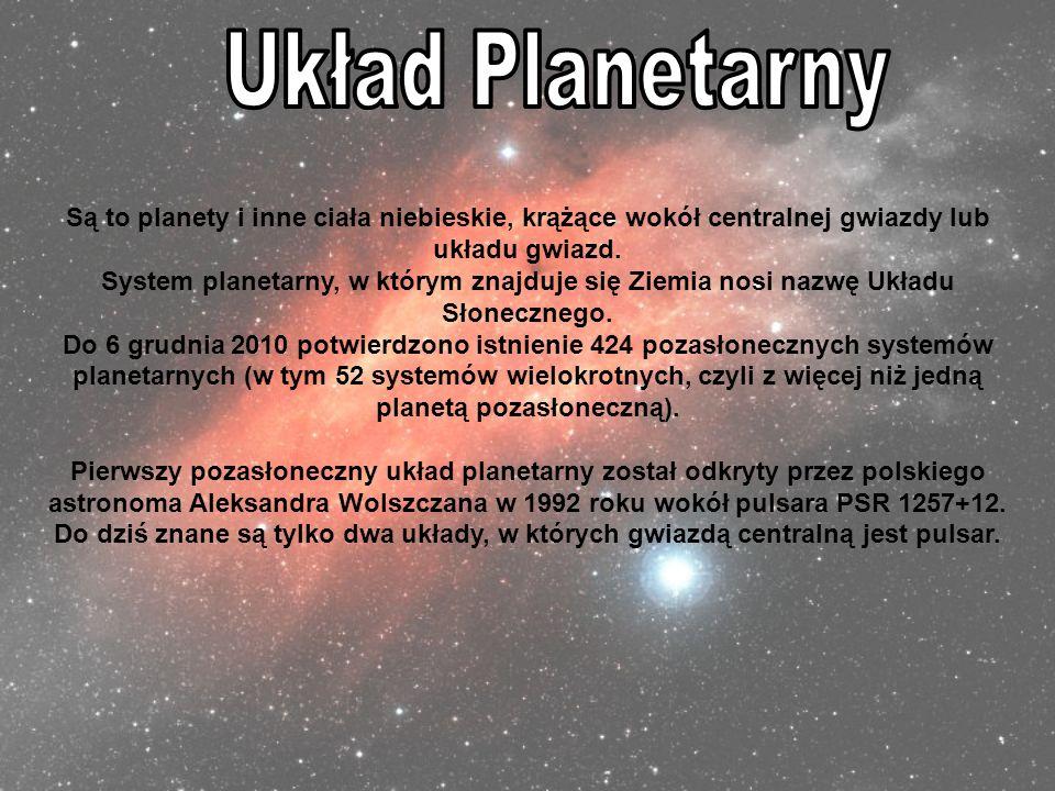 Układ Planetarny Są to planety i inne ciała niebieskie, krążące wokół centralnej gwiazdy lub układu gwiazd.