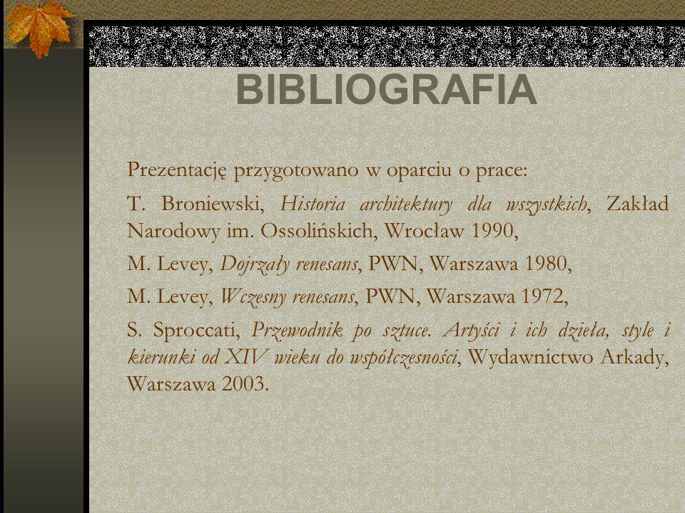BIBLIOGRAFIA Prezentację przygotowano w oparciu o prace: