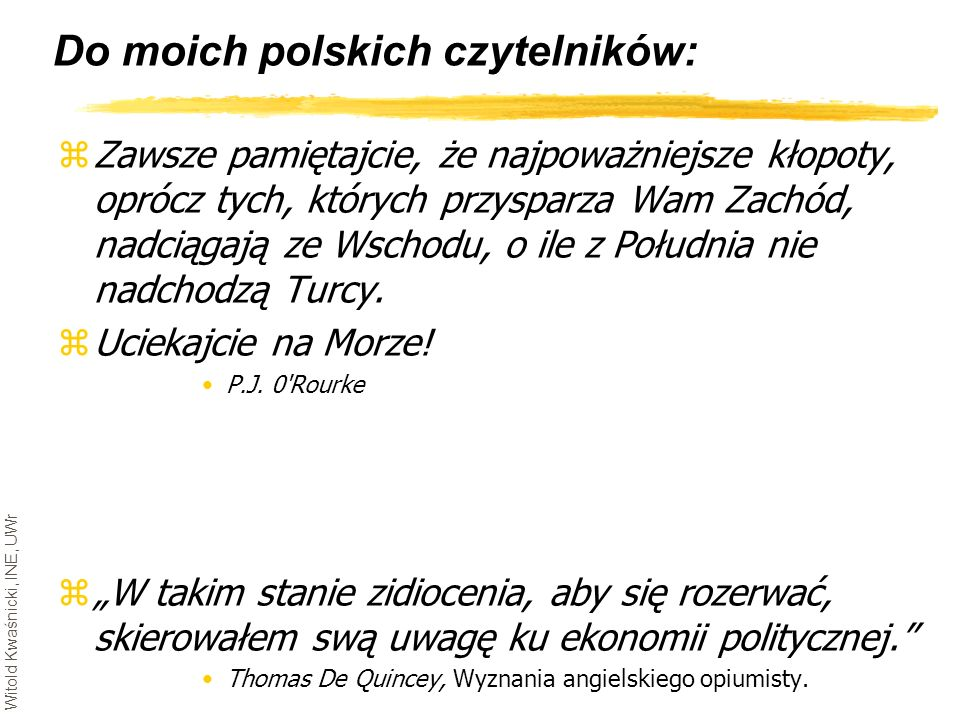 Do moich polskich czytelników: