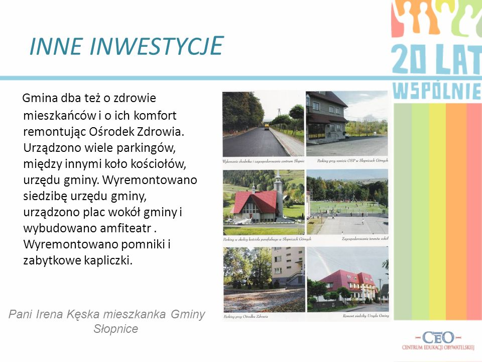 Pani Irena Kęska mieszkanka Gminy Słopnice