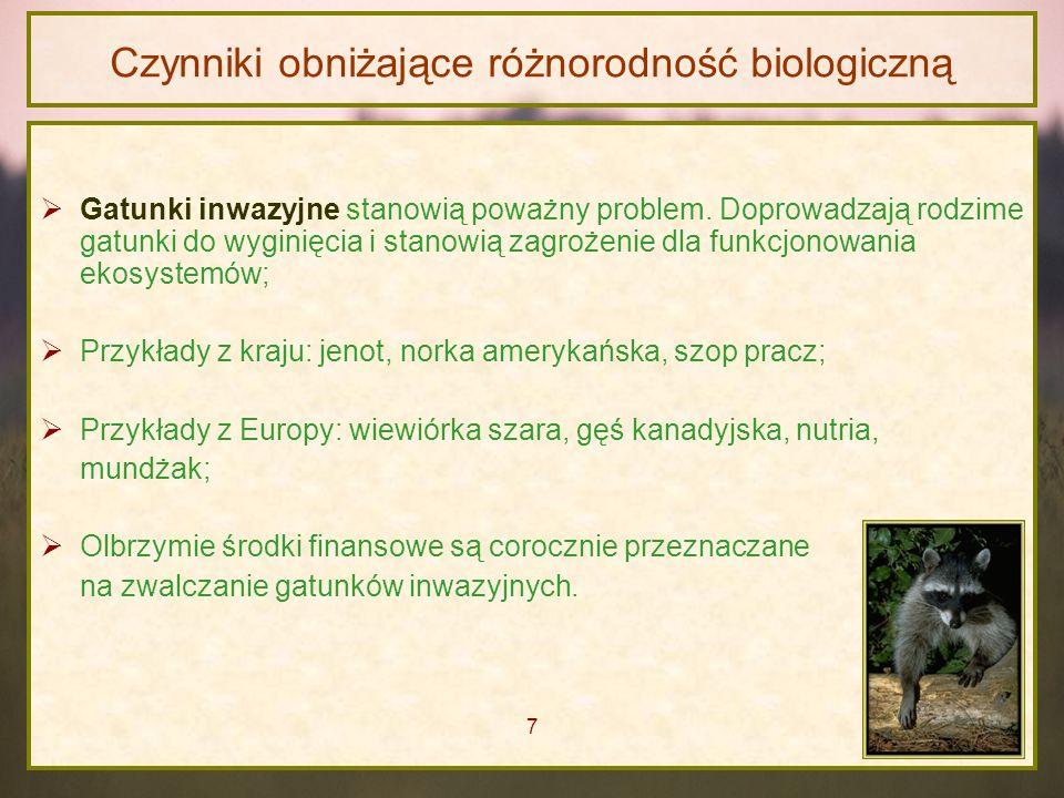 Czynniki obniżające różnorodność biologiczną