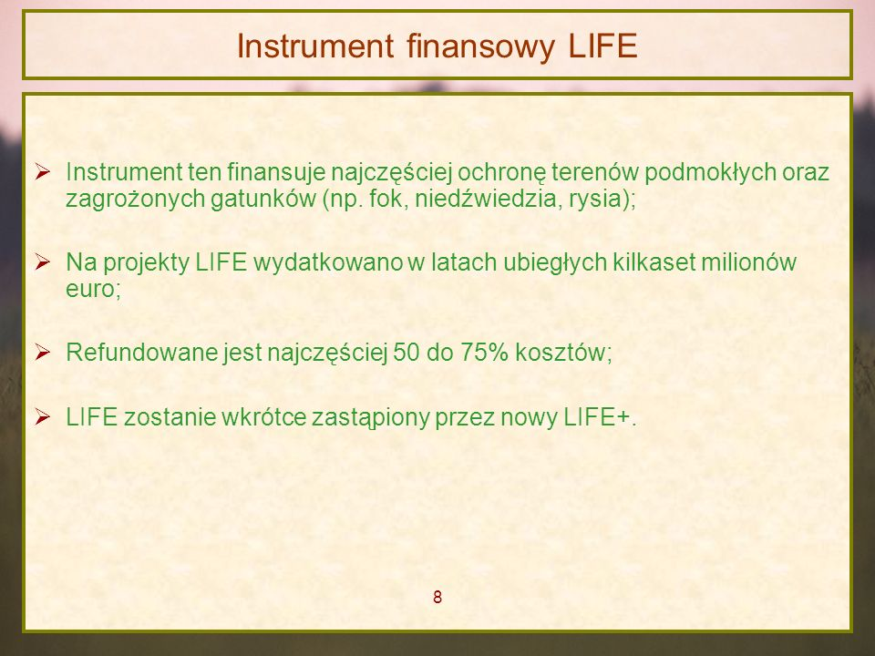 Instrument finansowy LIFE