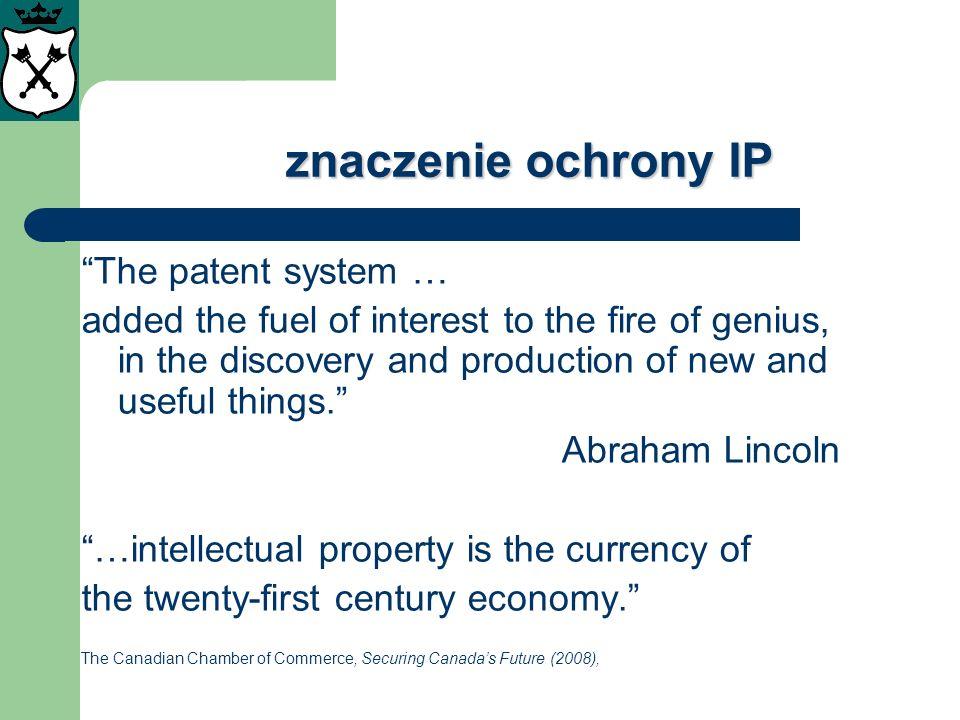 znaczenie ochrony IP The patent system …