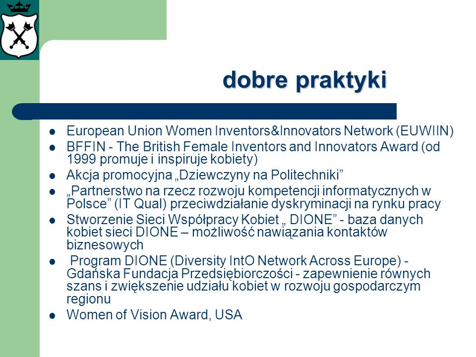 dobre praktyki European Union Women Inventors&Innovators Network (EUWIIN)
