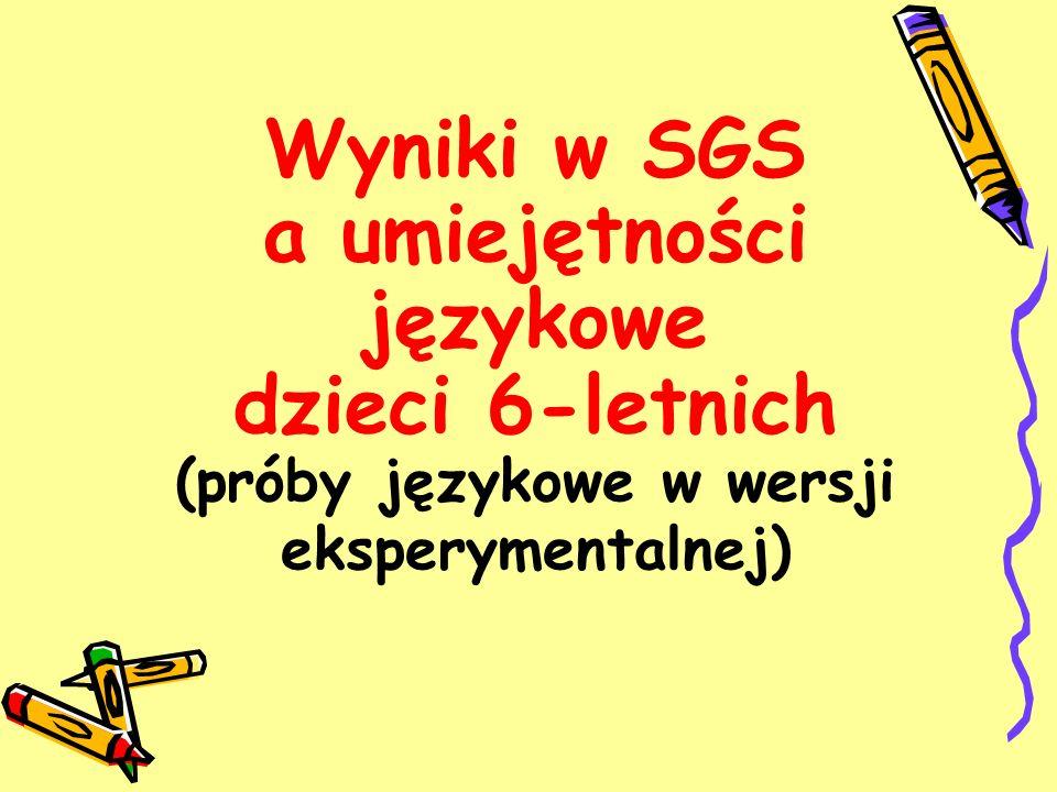 Wyniki w SGS a umiejętności językowe dzieci 6-letnich (próby językowe w wersji eksperymentalnej)