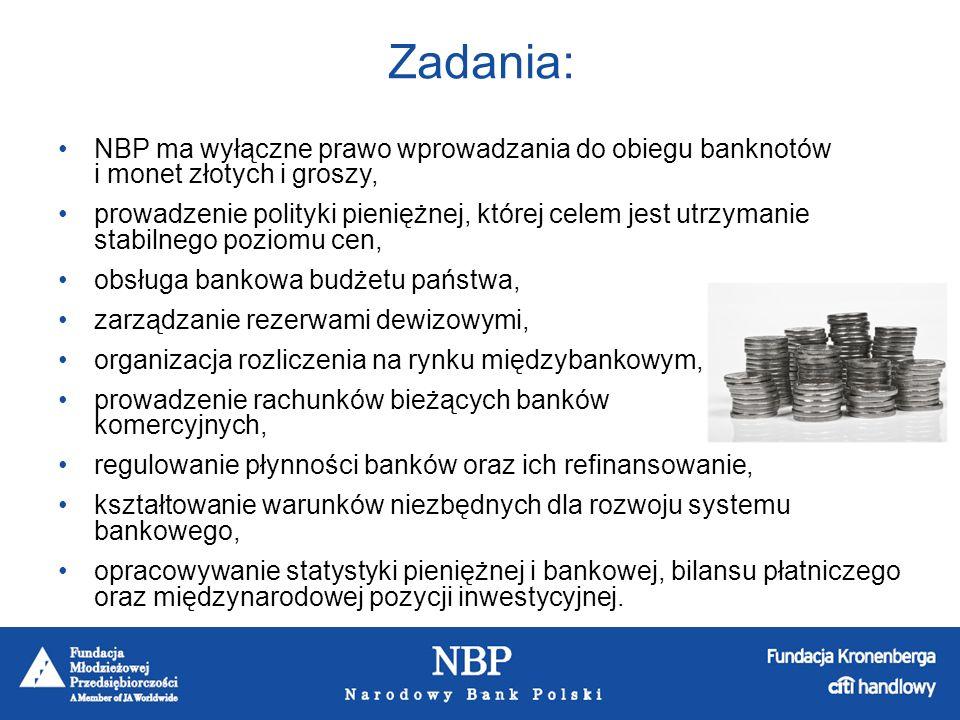 Zadania: NBP ma wyłączne prawo wprowadzania do obiegu banknotów i monet złotych i groszy,