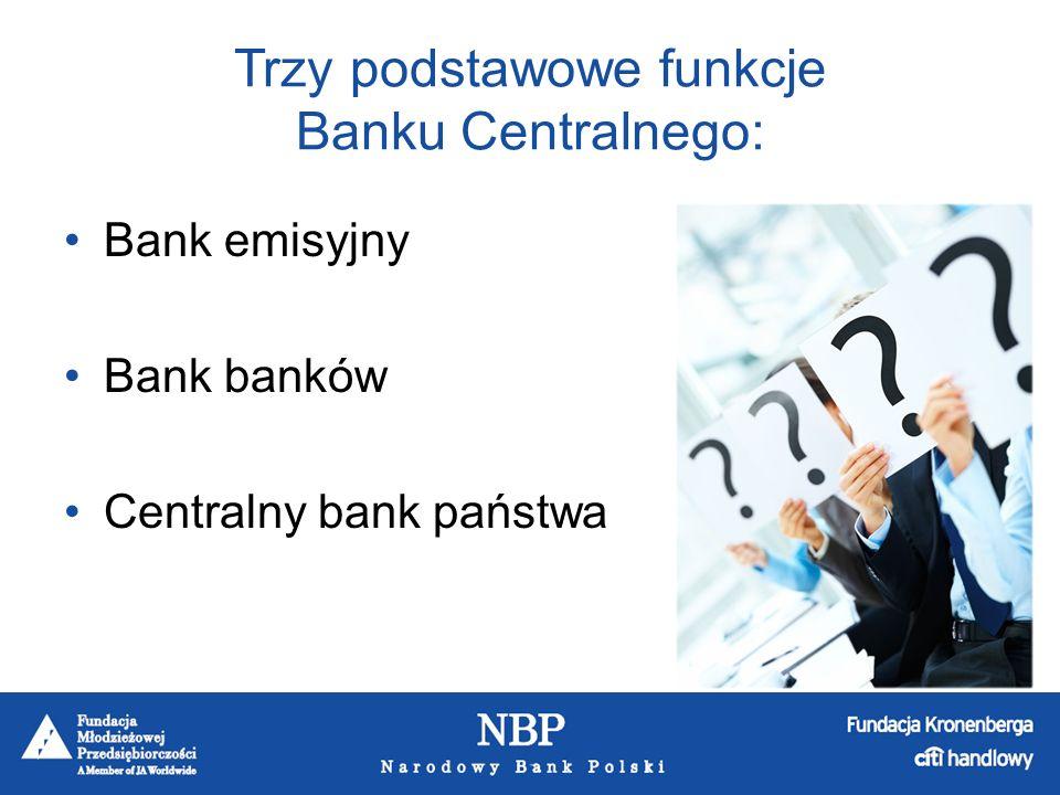 Trzy podstawowe funkcje Banku Centralnego: