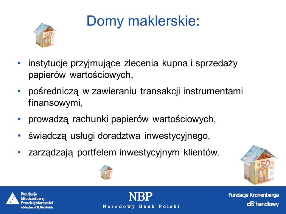 Domy maklerskie: instytucje przyjmujące zlecenia kupna i sprzedaży papierów wartościowych,