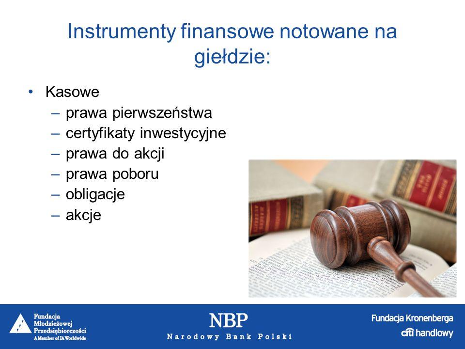 Instrumenty finansowe notowane na giełdzie: