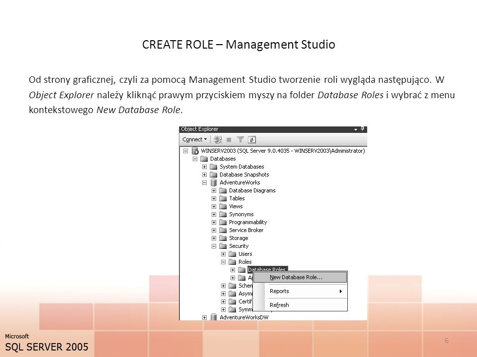 CREATE ROLE – Management Studio