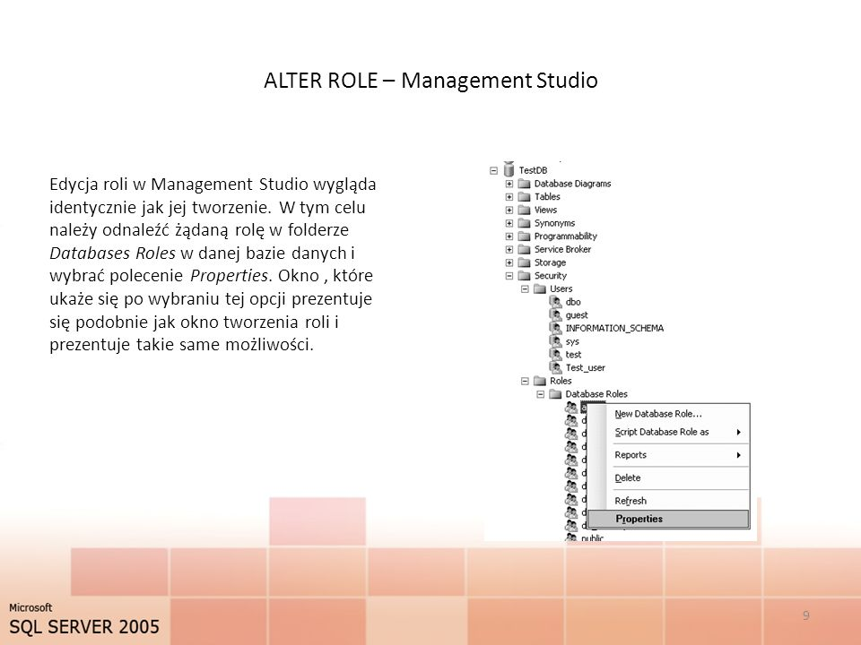 ALTER ROLE – Management Studio