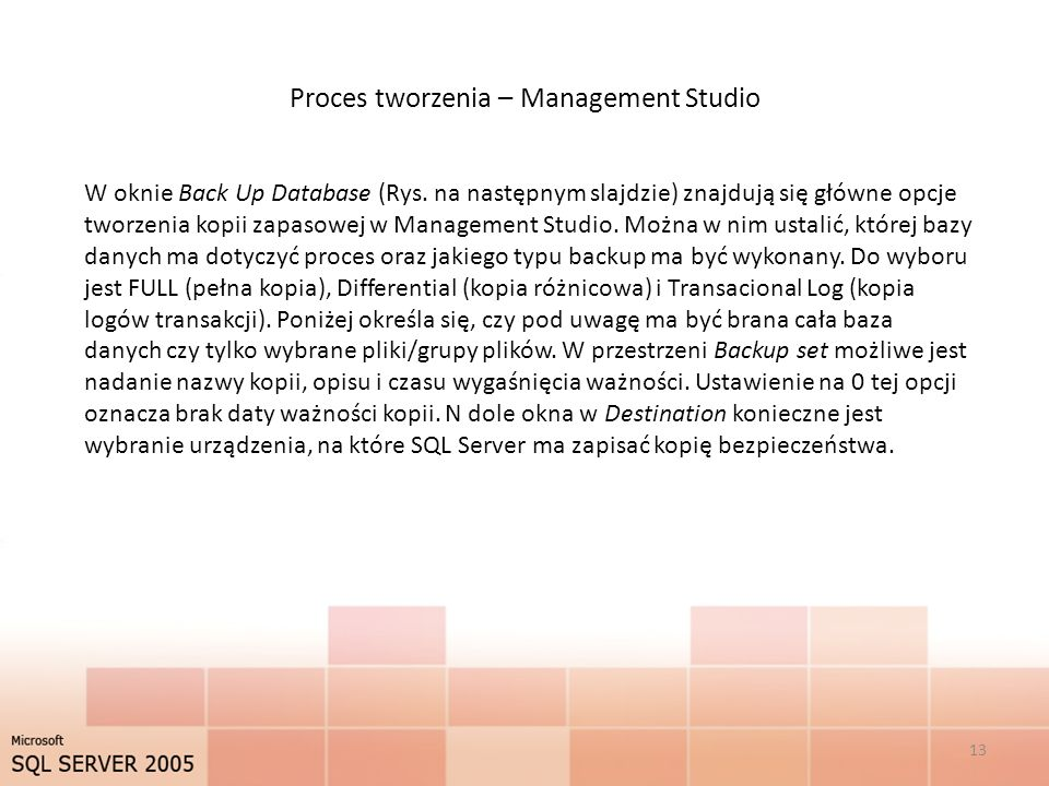 Proces tworzenia – Management Studio