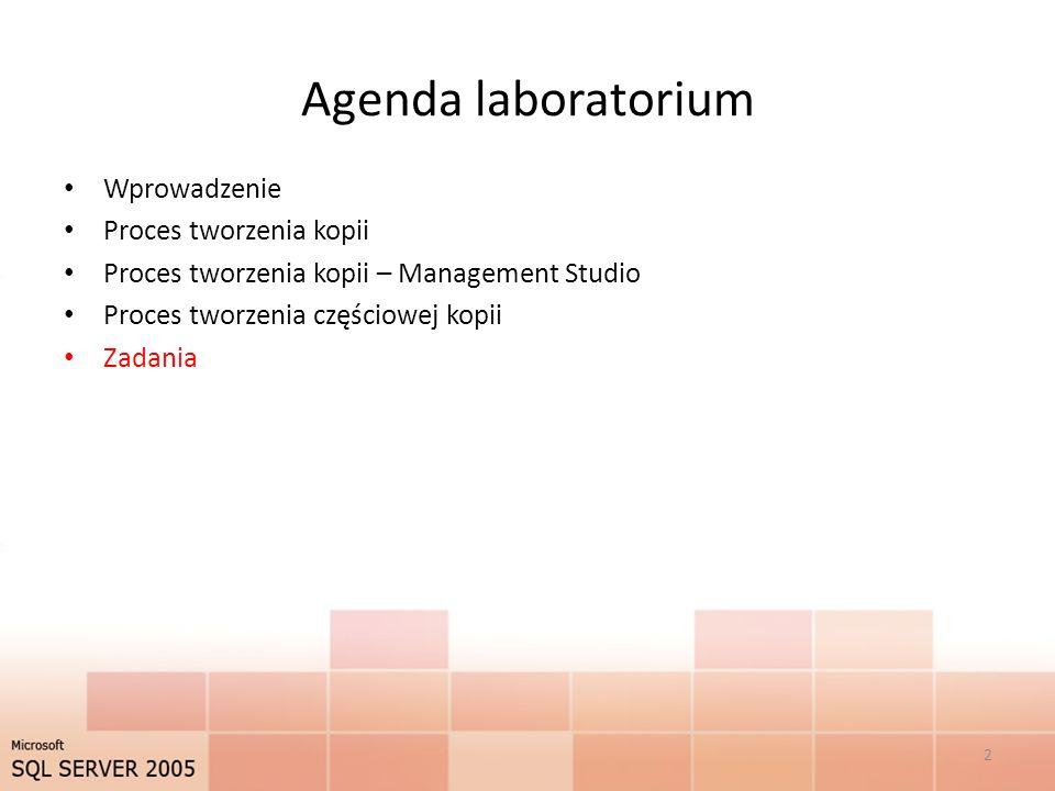 Agenda laboratorium Wprowadzenie Proces tworzenia kopii