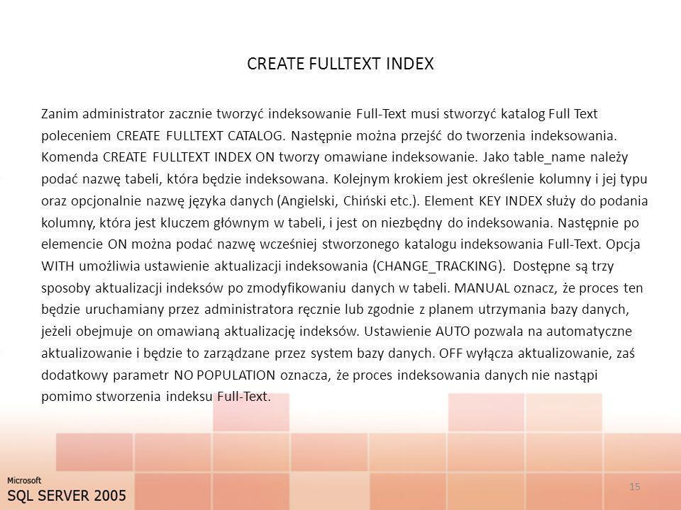 CREATE FULLTEXT INDEX