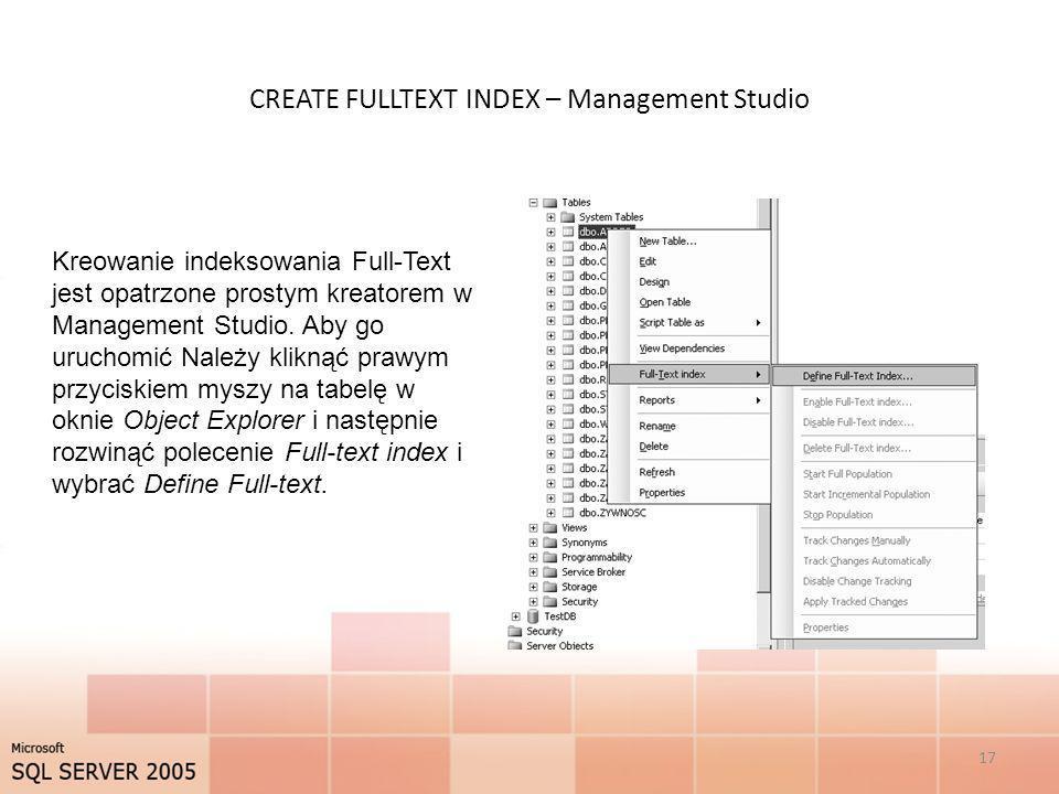 CREATE FULLTEXT INDEX – Management Studio