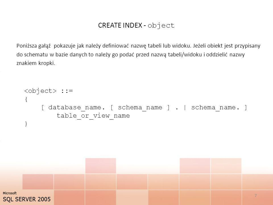 CREATE INDEX - object <object> ::= {