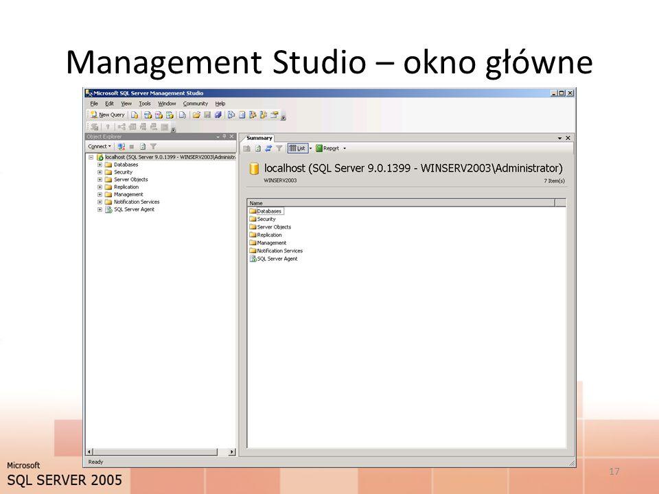 Management Studio – okno główne