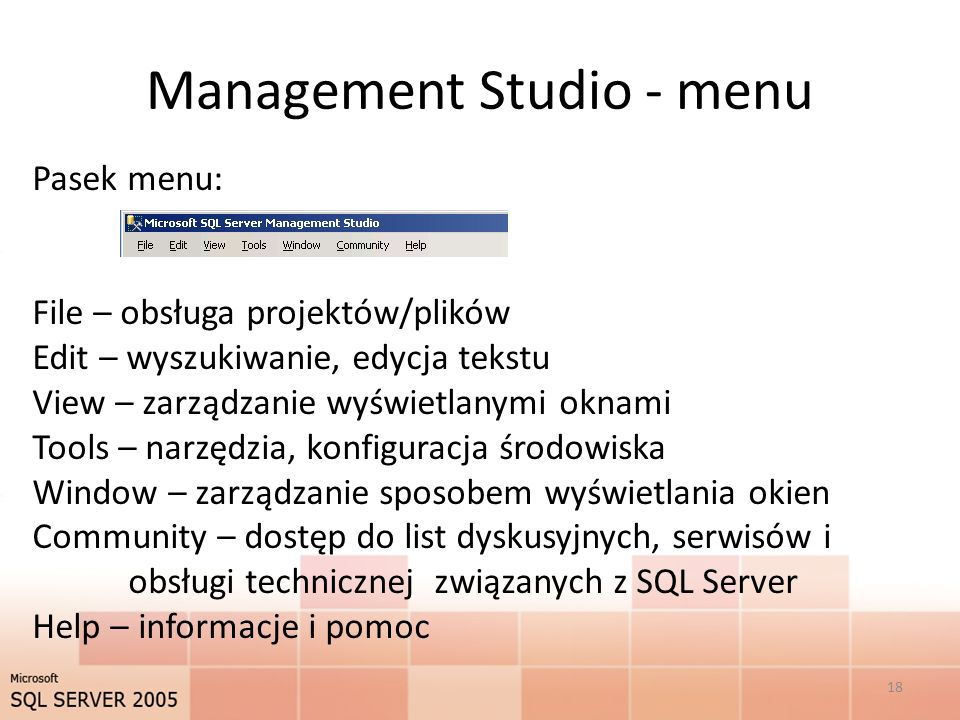 Management Studio - menu