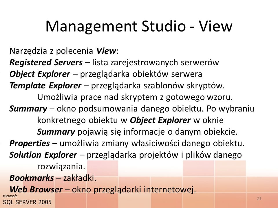 Management Studio - View