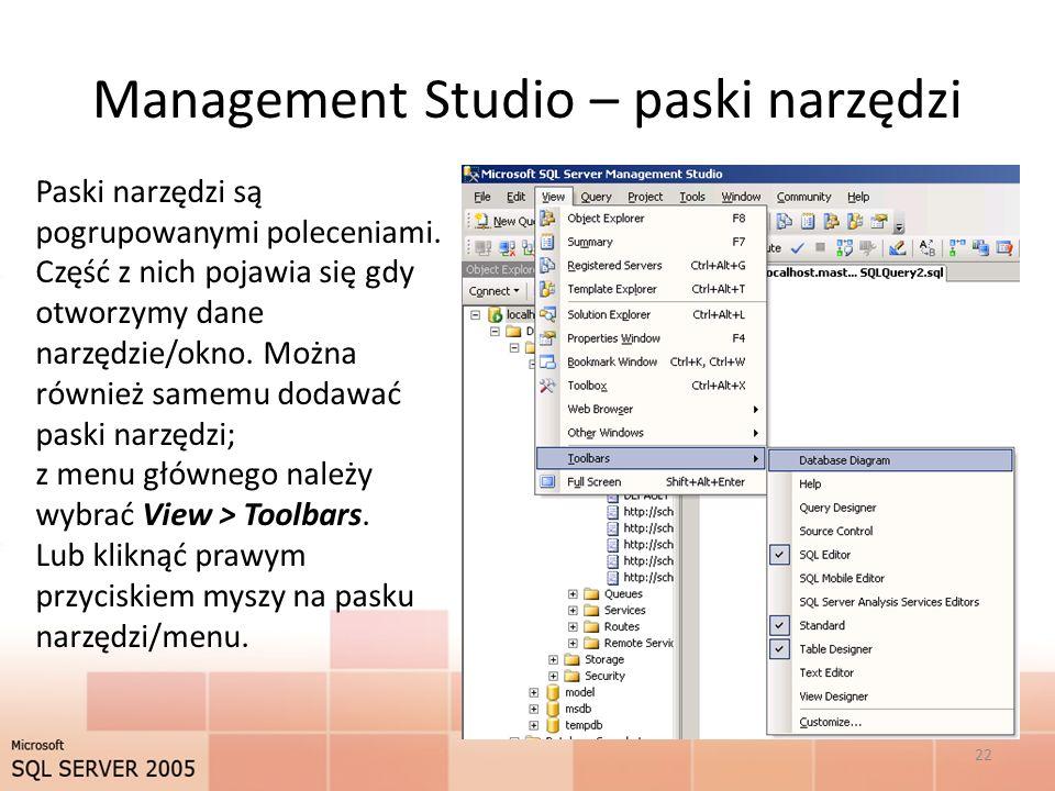 Management Studio – paski narzędzi