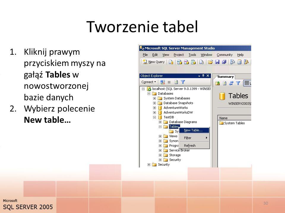 Tworzenie tabel Kliknij prawym przyciskiem myszy na gałąź Tables w nowostworzonej bazie danych.