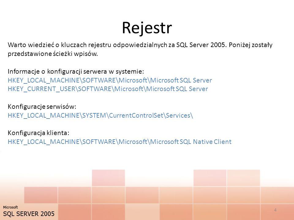 Rejestr Warto wiedzieć o kluczach rejestru odpowiedzialnych za SQL Server 2005. Poniżej zostały przedstawione ścieżki wpisów.