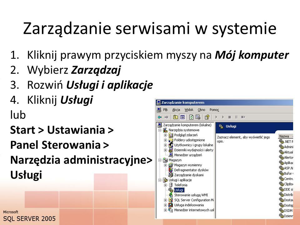 Zarządzanie serwisami w systemie