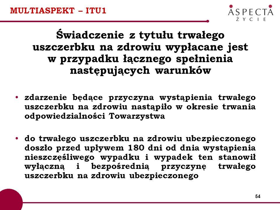 MULTIASPEKT – ITU1 Świadczenie z tytułu trwałego uszczerbku na zdrowiu wypłacane jest w przypadku łącznego spełnienia następujących warunków.