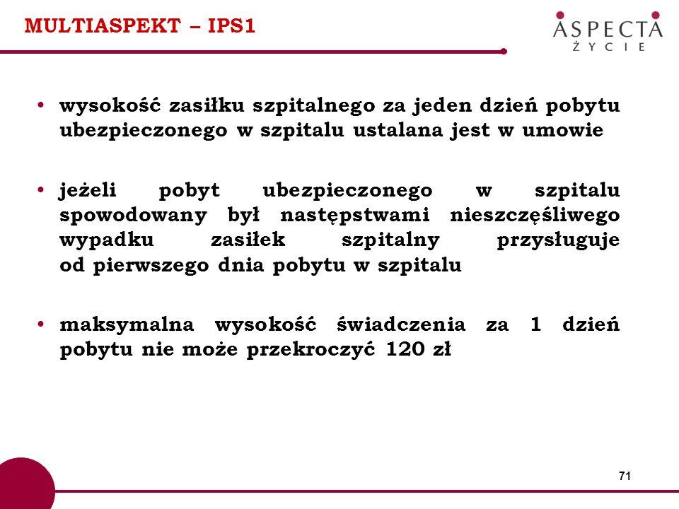 MULTIASPEKT – IPS1 wysokość zasiłku szpitalnego za jeden dzień pobytu ubezpieczonego w szpitalu ustalana jest w umowie.