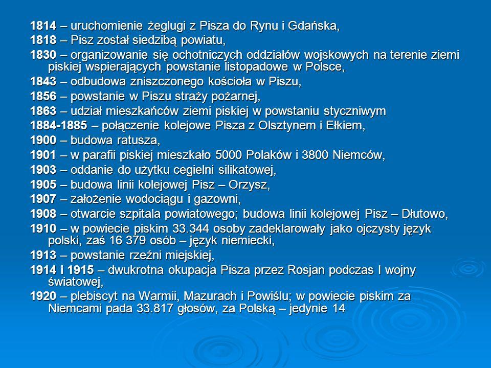 1814 – uruchomienie żeglugi z Pisza do Rynu i Gdańska,