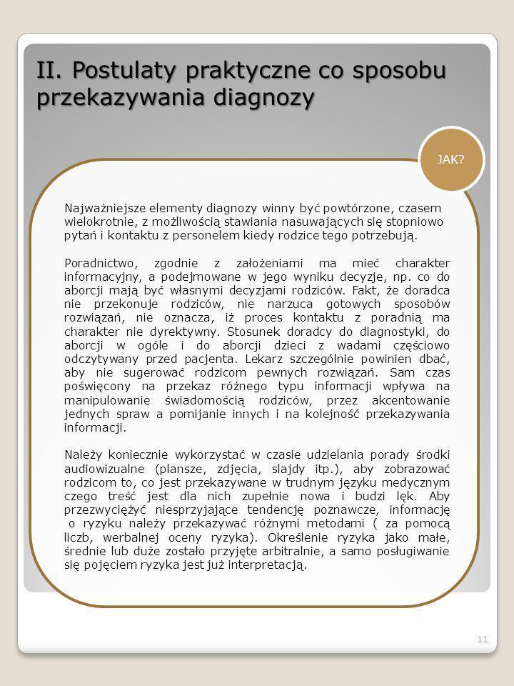 II. Postulaty praktyczne co sposobu przekazywania diagnozy
