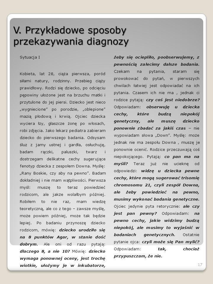 V. Przykładowe sposoby przekazywania diagnozy