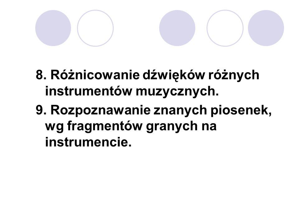 8. Różnicowanie dźwięków różnych instrumentów muzycznych.