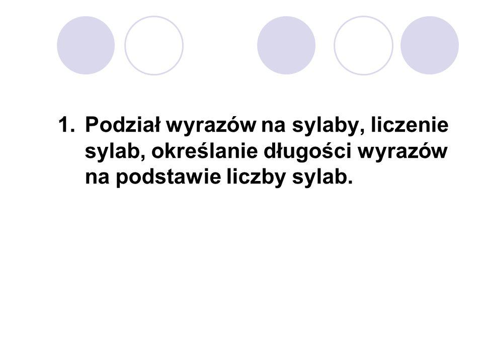 Podział wyrazów na sylaby, liczenie sylab, określanie długości wyrazów na podstawie liczby sylab.
