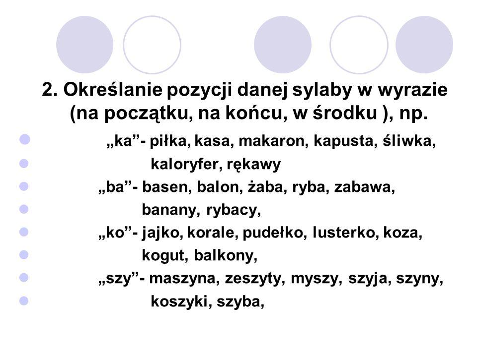 2. Określanie pozycji danej sylaby w wyrazie (na początku, na końcu, w środku ), np.