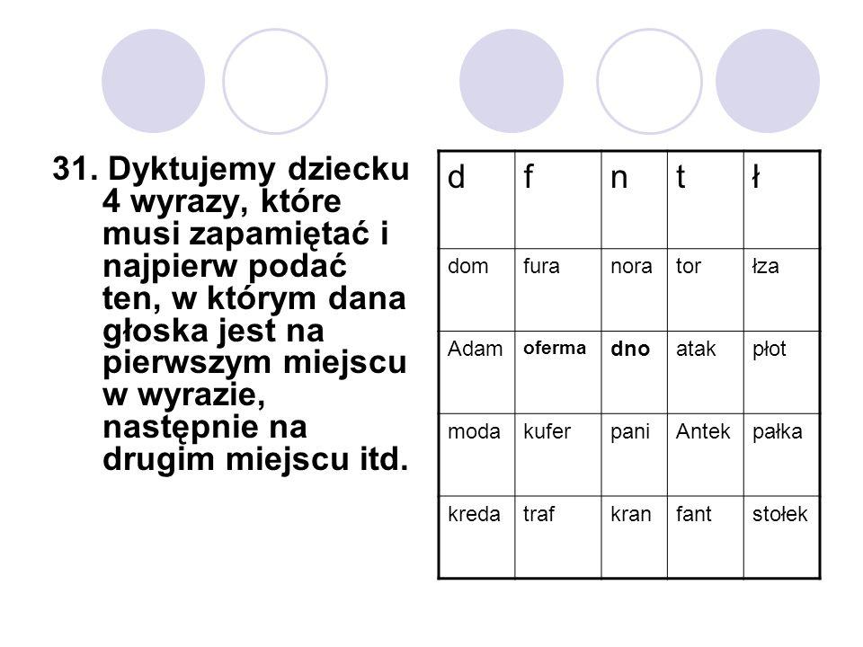 31. Dyktujemy dziecku 4 wyrazy, które musi zapamiętać i najpierw podać ten, w którym dana głoska jest na pierwszym miejscu w wyrazie, następnie na drugim miejscu itd.