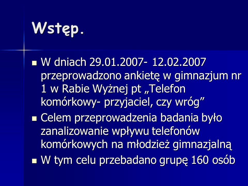 """Wstęp. W dniach 29.01.2007- 12.02.2007 przeprowadzono ankietę w gimnazjum nr 1 w Rabie Wyżnej pt """"Telefon komórkowy- przyjaciel, czy wróg"""