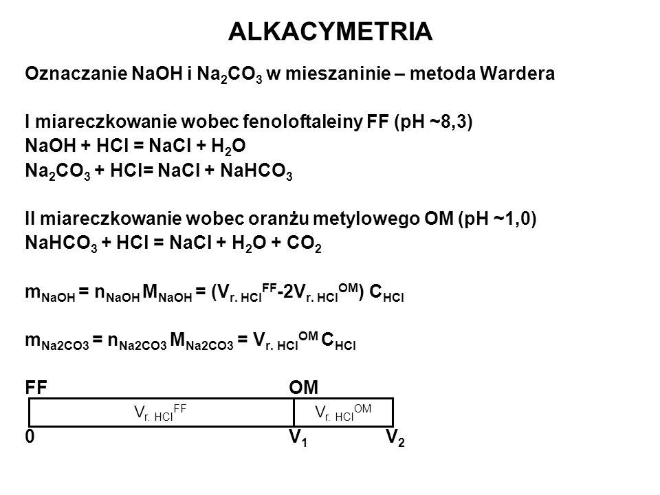 ALKACYMETRIA Oznaczanie NaOH i Na2CO3 w mieszaninie – metoda Wardera