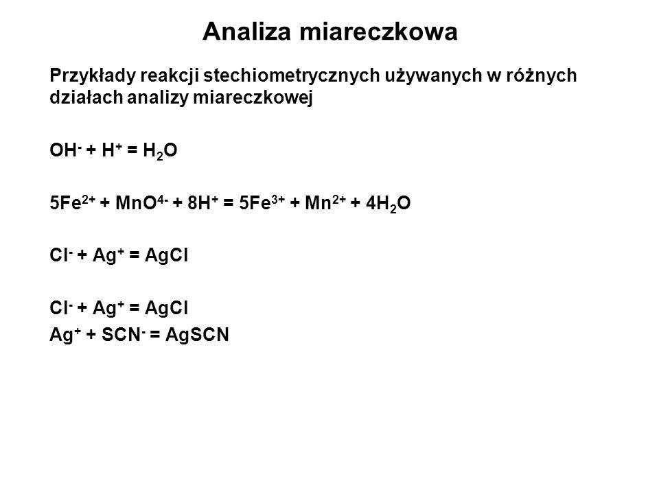 Analiza miareczkowa Przykłady reakcji stechiometrycznych używanych w różnych działach analizy miareczkowej.