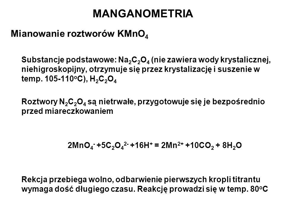 MANGANOMETRIA Mianowanie roztworów KMnO4
