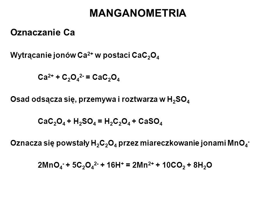 MANGANOMETRIA Oznaczanie Ca Wytrącanie jonów Ca2+ w postaci CaC2O4