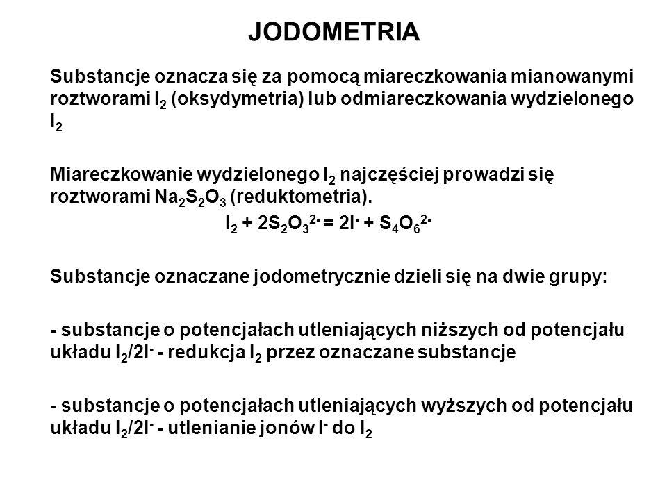 JODOMETRIA Substancje oznacza się za pomocą miareczkowania mianowanymi roztworami I2 (oksydymetria) lub odmiareczkowania wydzielonego I2.