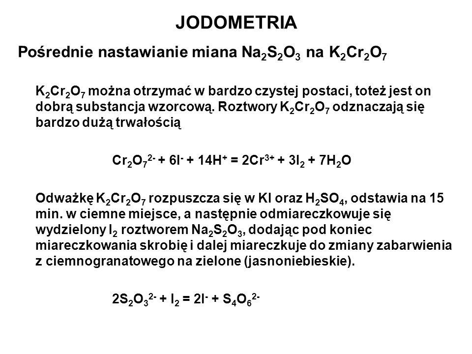 JODOMETRIA Pośrednie nastawianie miana Na2S2O3 na K2Cr2O7