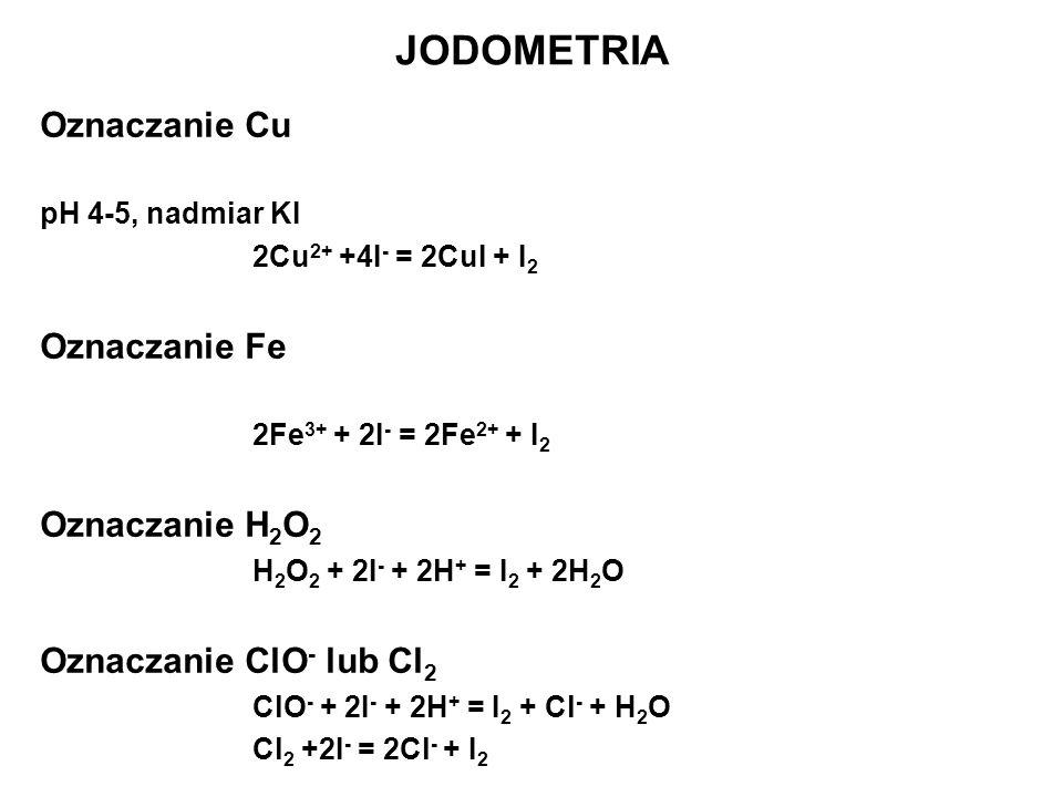 JODOMETRIA Oznaczanie Cu Oznaczanie Fe Oznaczanie H2O2