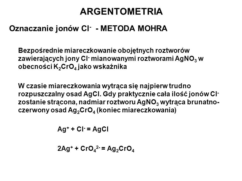 ARGENTOMETRIA Oznaczanie jonów Cl- - METODA MOHRA