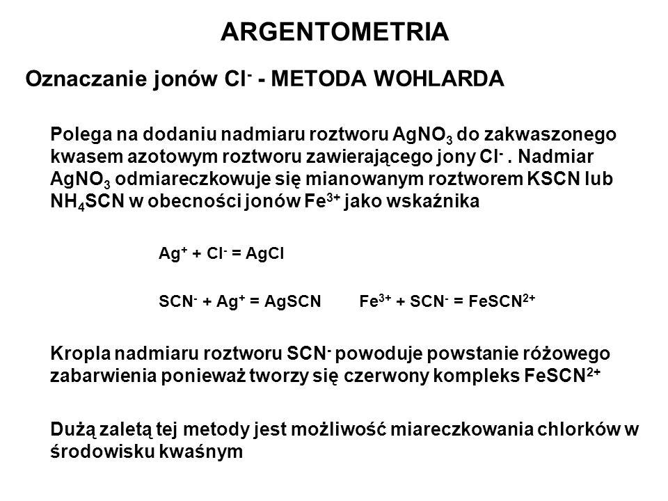 ARGENTOMETRIA Oznaczanie jonów Cl- - METODA WOHLARDA