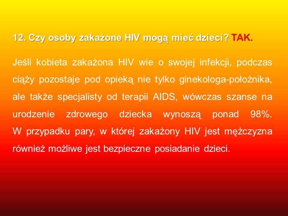 12. Czy osoby zakażone HIV mogą mieć dzieci TAK.