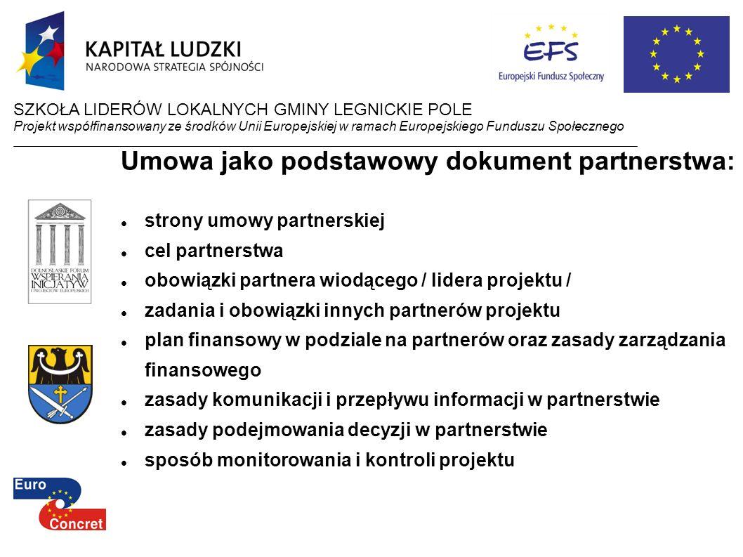 Umowa jako podstawowy dokument partnerstwa: